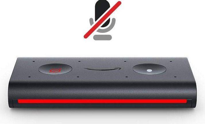 Echo Auto, colore rosso: audio disattivato, modalità privacy attivata