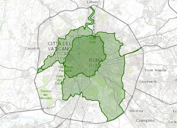 Fascia verde - la zona del blocco diesel a Roma