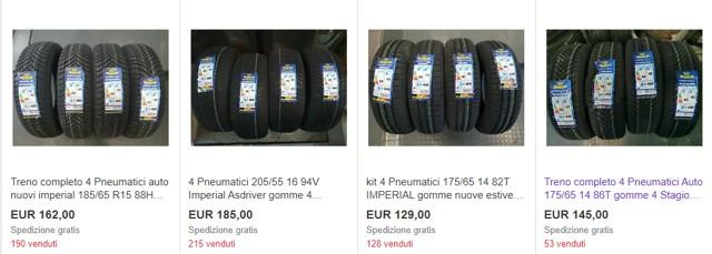 Pneumatici in vendita su eBay
