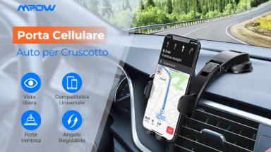 Porta cellulare per auto Mpow con attacco a ventosa a soli 11€