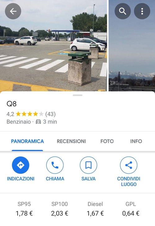 Prezzo della benzina su Google Maps